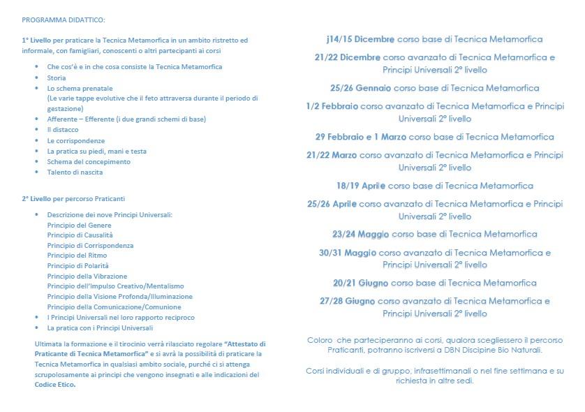 CALENDARIO CORSI TECNICA METAMORFICA E PRINCIPI UNIVERSALI 2019/2020